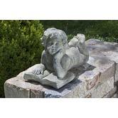 """Alfresco Home""""Cherub Reading Book Fiberstone Statue in Aged Stone"""