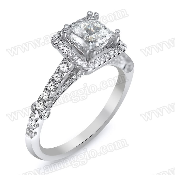 1.66cttw Princess Cut Halo Setting Designer Engagement Ring