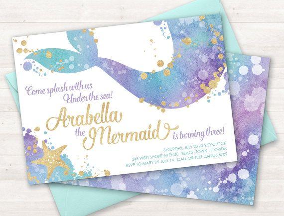 Mermaid Invitation, Mermaid Party Invite, Under the Sea Invitation, Teal Purple Gold, Little Mermaid, Birthday Invitation, Pool Party Invite