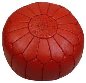 Red Moroccan Leather Pouf - mediterranean - ottomans and cubes - Furbish