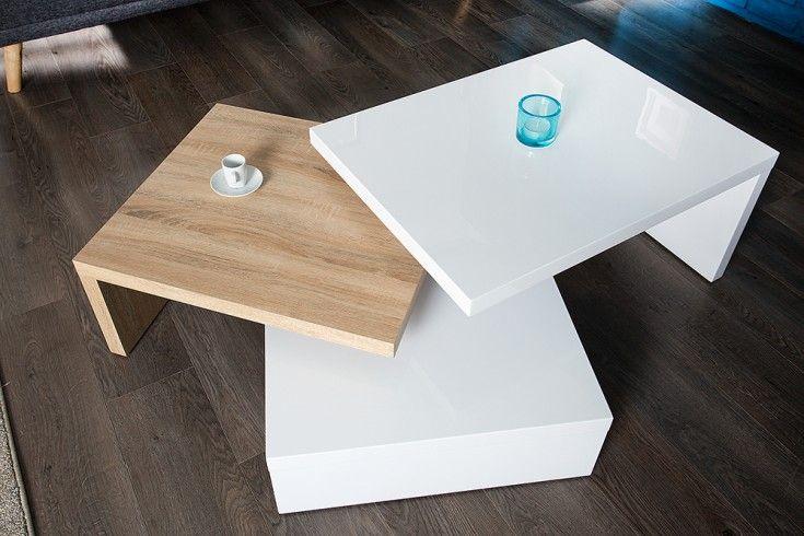 Funktioneller Design Couchtisch Highclass Hochglanz Weiss Sonoma Eiche Tisch Couchtisch Weiss Eiche Couchtisch Truhe Tisch