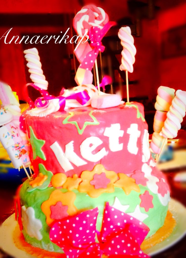 Birthday cake, colorful, cotton candy