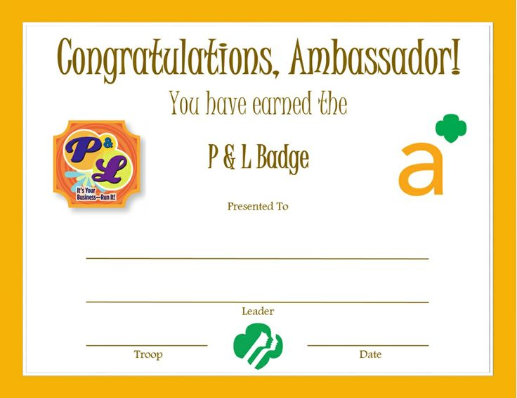 34 best Girl Scout Ambassador \ Certificates etc images on - congratulations certificates