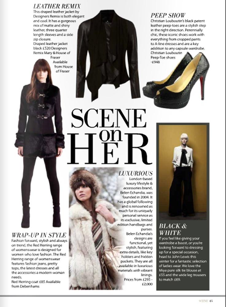Scene Magazine features Belen Echandia's LA Tote bag: http://www.belenechandia.com/buy/handbags/la-satchel--black-leather-bag-1/