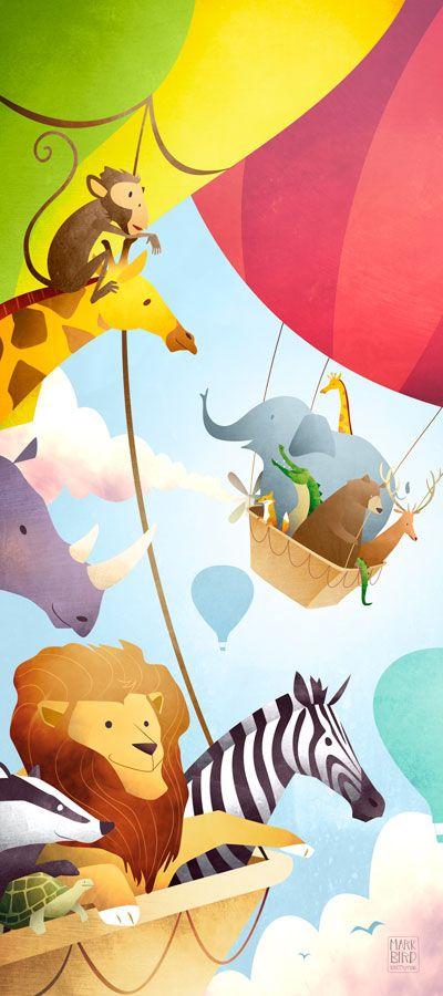 The Great Animal Ballon Race | Mark Bird Illustration - Children's hot air balloon book Illustration with lion, zebra, giraffe, bear, badger, monkey, tortoise, rhino, deer, fox, elephant and crocodile.