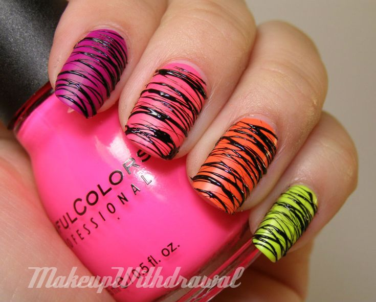 want to try something like this....maybe dip a string in nail polish and just touch to nails repeatedly?