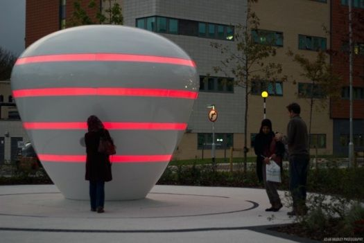 HOSPITAL SCULPTURE INTERACTS WITH HUMAN HEART BEATS  by Andrew Small and Steven Almond