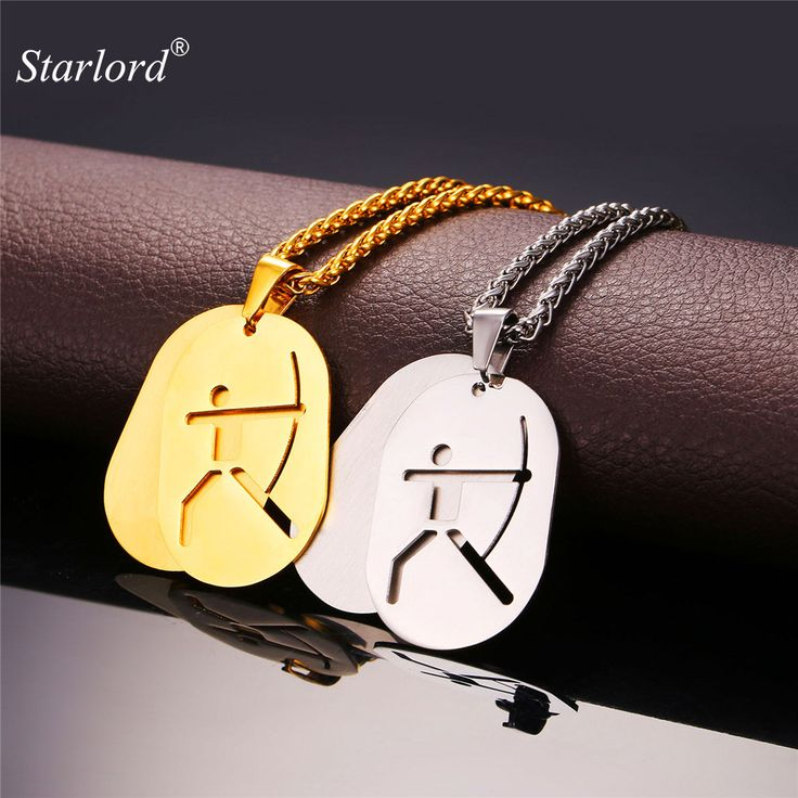 Starlord Sports Jewelry Dog Tag Double Necklace Pendant Archery  Stainless Steel/Gold Color Chain Men/Women GP2246 #Affiliate