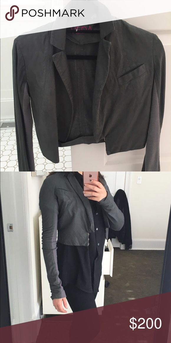 Veda Cropped Leather Jacket BEST LEATHER!! Silky smooth, hardly worn leather cropped jacket! Veda Jackets & Coats Blazers