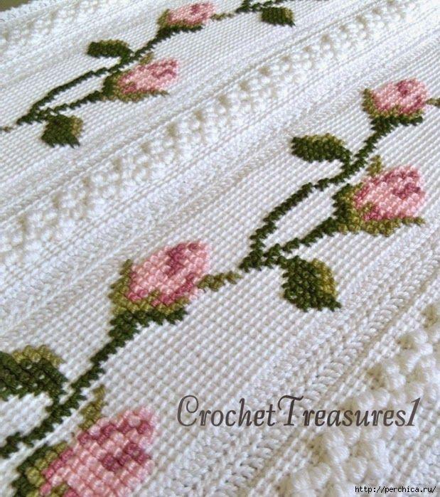 Tunus işi ile örülmüş ve etamin ile süslenmiş battaniye - DANTELMODELLER