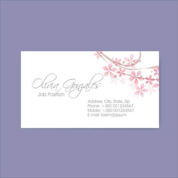 Elegant Business Cards Flower Business Card Pink Home Office