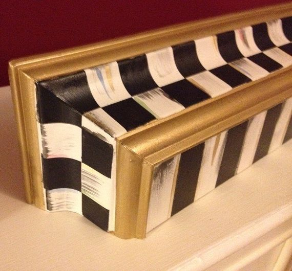 Whimsical black and white check french country wall shelf for French country shelves