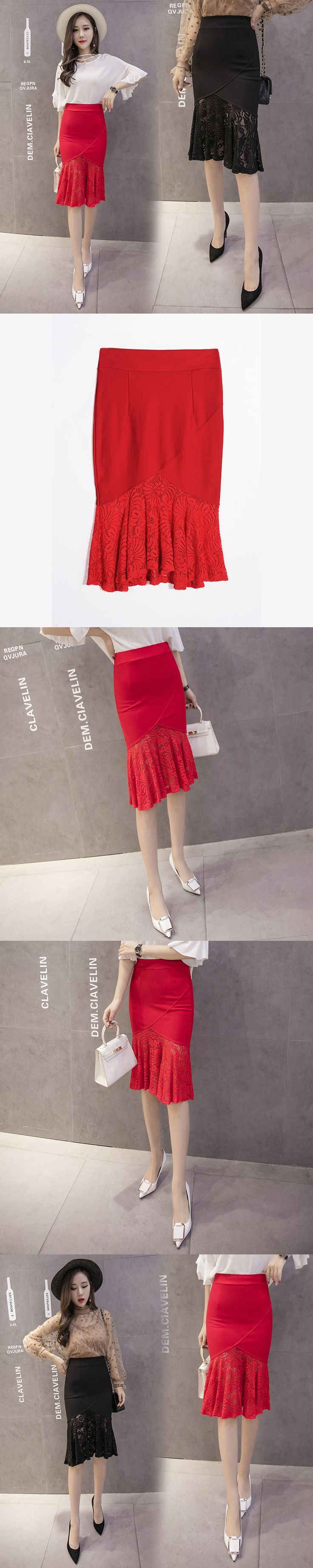 Sexy women ladies black and red floral lace pencil skirt high waist ruffles Stitching long skirts