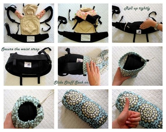 """cool ergo carrier carrying case!  simple diy  """"The original baby carrier Stuff Sack is made with a coordinating carry-handle on the bottom, a high-quality barrel clasp, and heavy duty shock cord to handle frequent, daily use. Stuff Sacks are approximately 6.25"""" in diameter and 14"""" in height."""""""