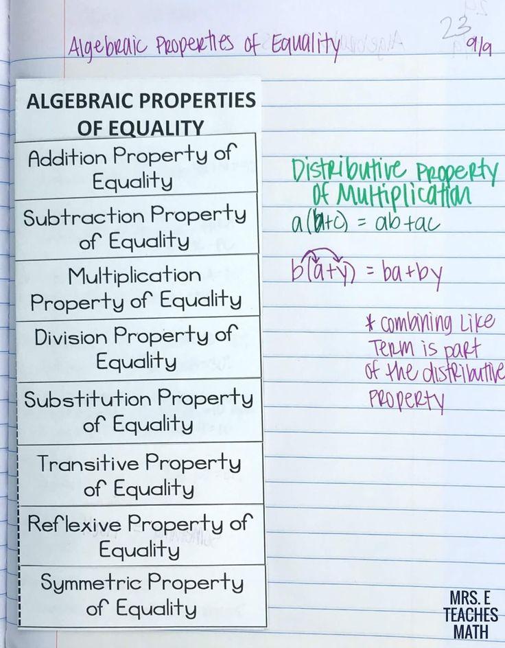 Algebraic properties worksheet free