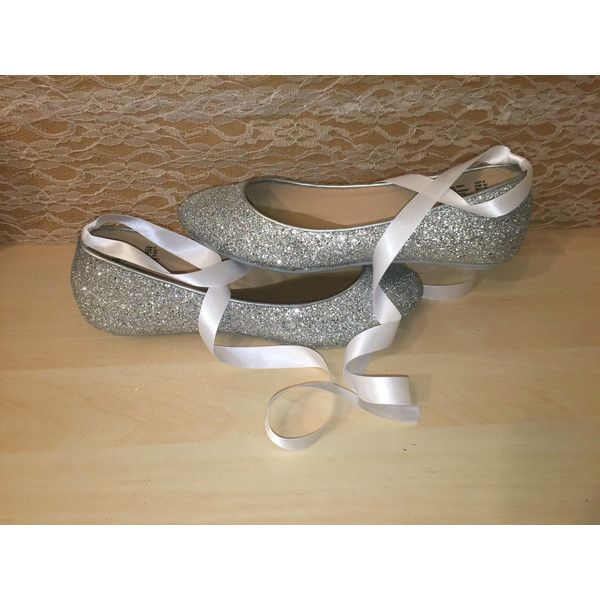 Women's Sparkly Silver Glitter Ballet Ballerina Flats Shoes Wedding... ($72) ❤…