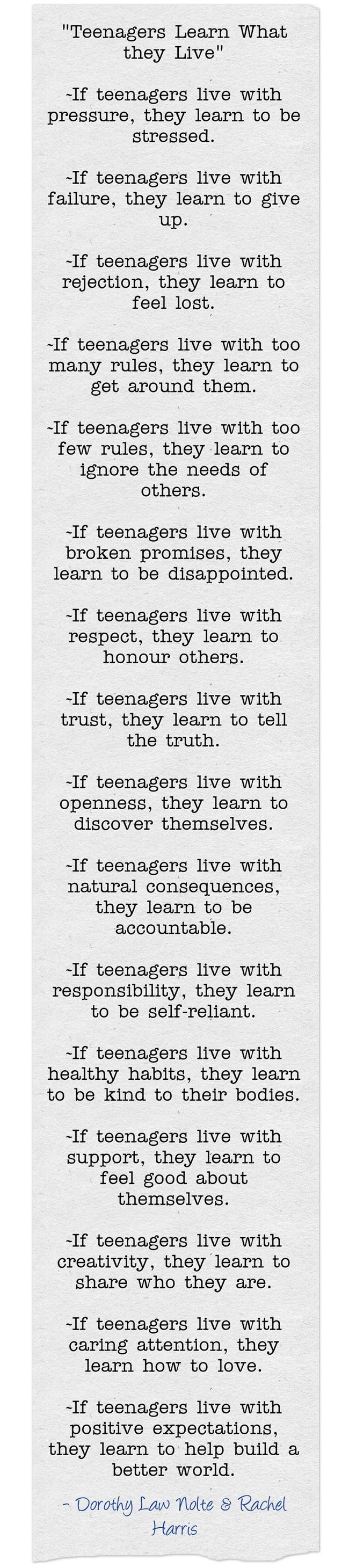 """Teenagers Learn What They Live"" Poem by: Dorothy Law Nolte & Rachel Harris. 2002. Teenagers. Advice. Parenting. ""Children Learn What They Live""  Poem (1998)."