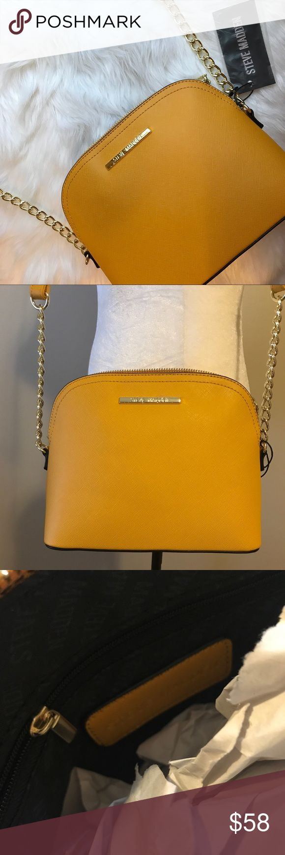 BRAND NEW Steve Madden Mustard Crossbody Brand new with tags attached. Hardware color is gold. Features two inside pockets, one being a zippered pocket. Length is 9 inches, Height is 7 1/2 inches, and Width is 3 1/2 inches. (All measurements are approximate) Steve Madden Bags Crossbody Bags