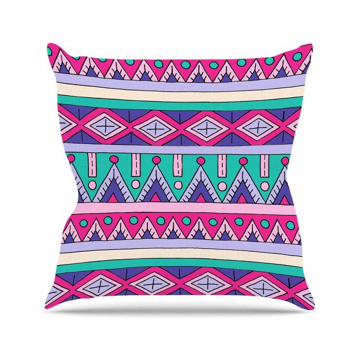 "Sarah Oelerich ""Teal Tribal"" Pink Purple Throw Pillow from KESS InHouse"