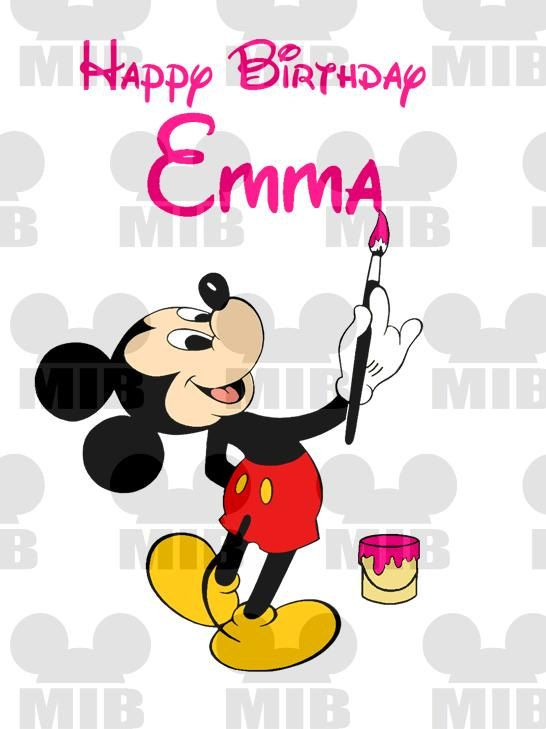 Mickey Mouse Artist Happy Birthday With Personalized