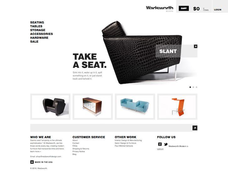 DENNE SER BRA UT.   - Den har ekte lys  - God design  - Eksklusiv følelse      Ecommerce Website Design - Wadsworth