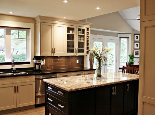 Two Toned Cabinets, Two Different Counter Top Colors, Love The Backsplash