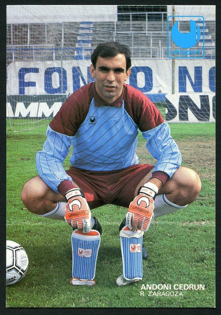Andoni Cedrún del Real Zaragoza en postal mpublicitaria de la marca deportiva Uhlsport.