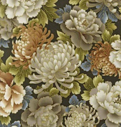 R Kaufman Imperial Collection Mums & Peonies Linen