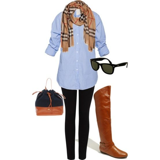 : Fashion, Fall Wardrobes, Fall Style, Burberry Scarfs, Chambray Shirts, Denim Shirts, Fall Looks, Fall Outfits, Boots