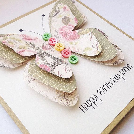 Beautiful, elegant handmade 3D butterfly card. Wonderfully pretty, this colourful card is perfect for your friends birthday, a child or your special auntie. The wording on the front can say anything youd like so please let me know in the Notes section when placing your order. Your card will come with a hand stamped envelope for an extra personal touch. It will come packaged in a protective cellophane cover and delivered in a secure padded envelope to ensure safe arrival…