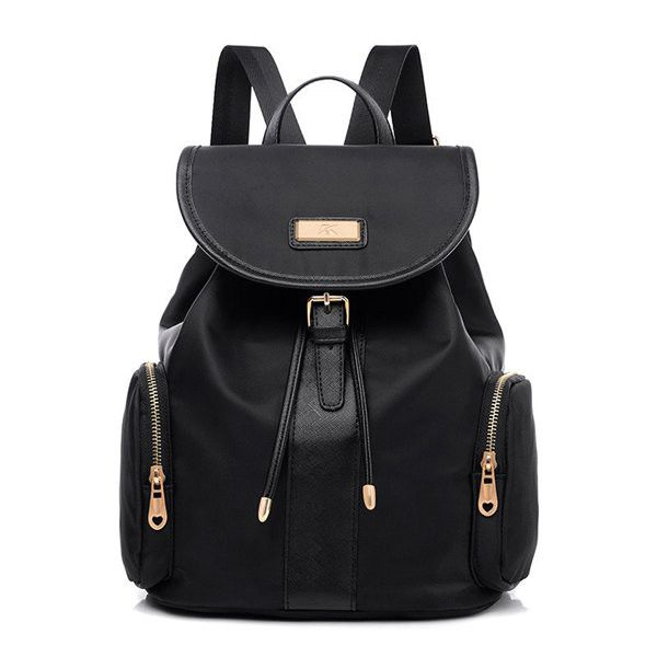 Casual Multi-pocket Black Nylon Waterproof Backpack School Bag Shoulder Bag