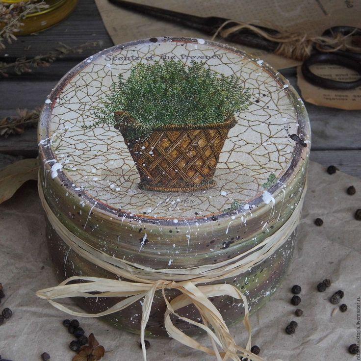 """Купить """"Травы Прованса"""" Деревянная шкатулка из ОЛЬХИ - деревянный короб, прованс, кантри, винтаж, кухня"""