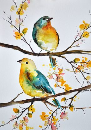 ORIGINAL Watercolor Bird Painting, Colorful Aqua Blue Yellow Birds 6x8 Inch