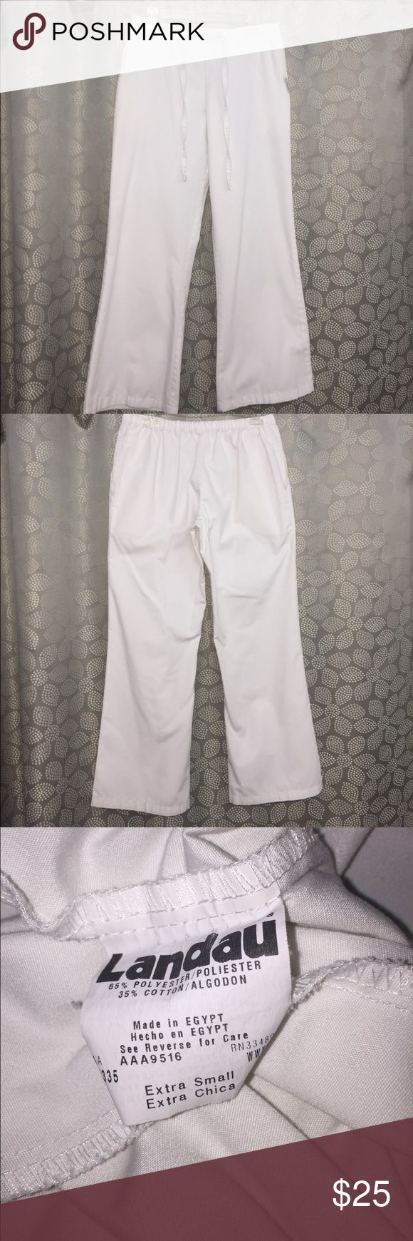 EUC Lot of 3 White Landau Scrub Pants 65% polyester & 35% cotton. Only worn a few times. Drawstring waist. Landau Pants
