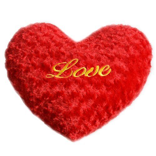Shaggy Decorative Throw Pillow Heart Shape Plush Toy Wedd…