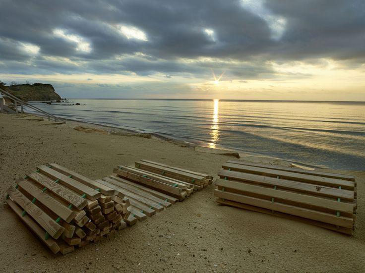 Winter sunset view from Bousoulas Beach Bar Decks at Saniresort Kassandra