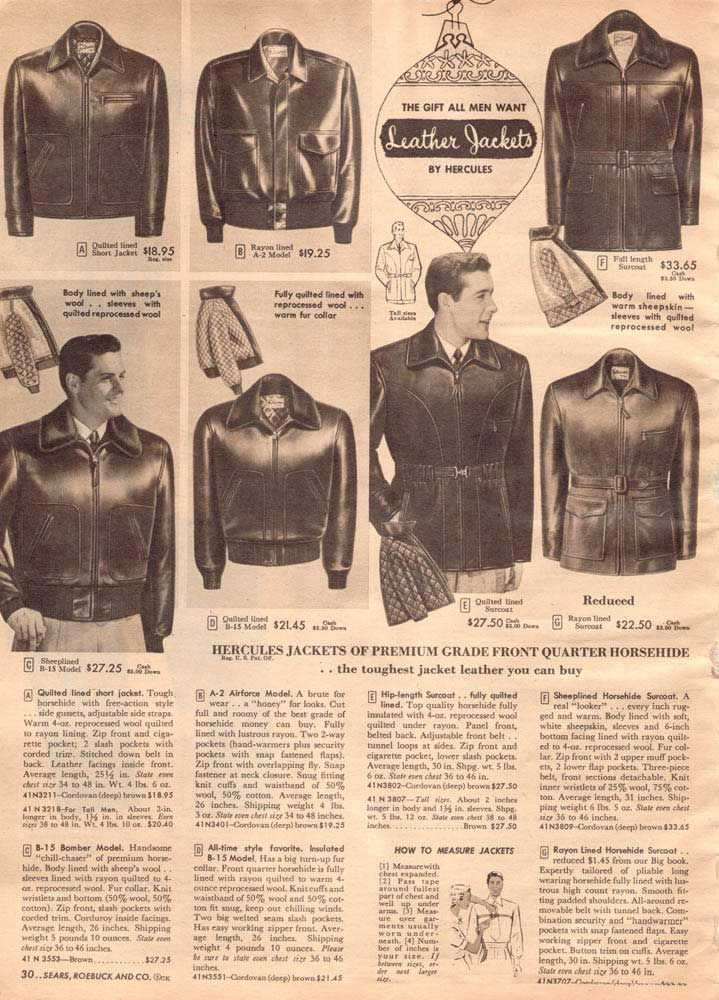 Vintage Mens Leather Jackets From A 1952 Sears Catalog
