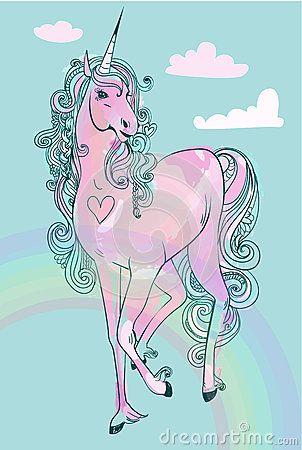Unicórnio cor-de-rosa do conto de fadas dos desenhos animados