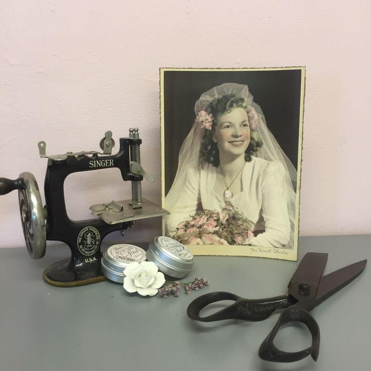 My sweet Grandma. #pink #vintage #antiques #sewing #crafting #sewingmachine #scissors #grandma