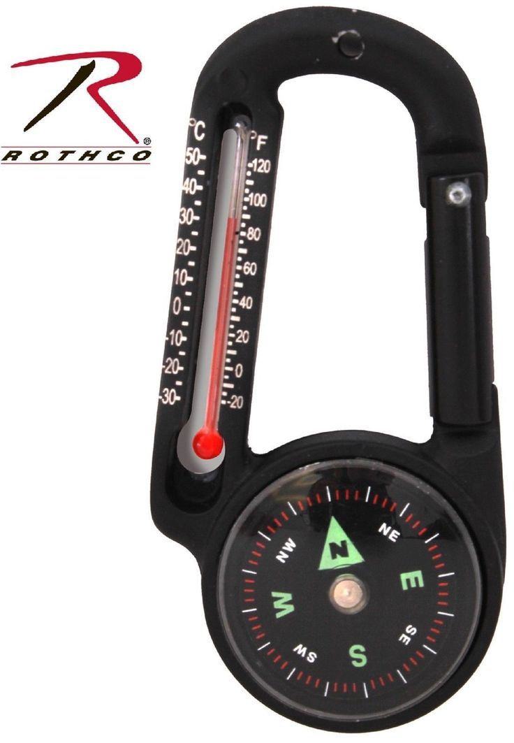 "CARABINER COMPASS THERMOMETER Perfect Addition to any Camping, Survival or Outdoor Pack Measures 2.75"" x 1.4"" x .4"" Durable Aluminum Material Black in Color Includes both Fahrenheit and Celsius Readin"