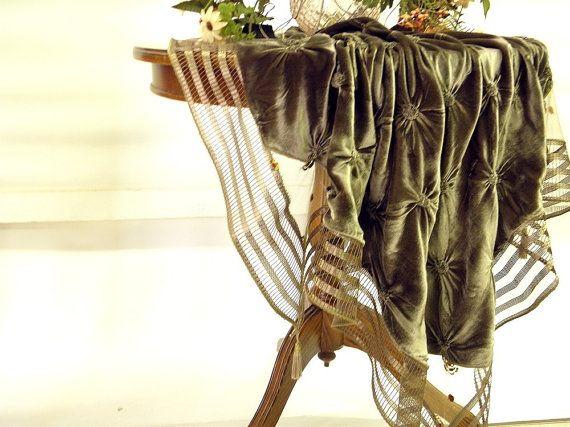 Modern whimsical tablecloth olive green silk velvet by Eleptolis