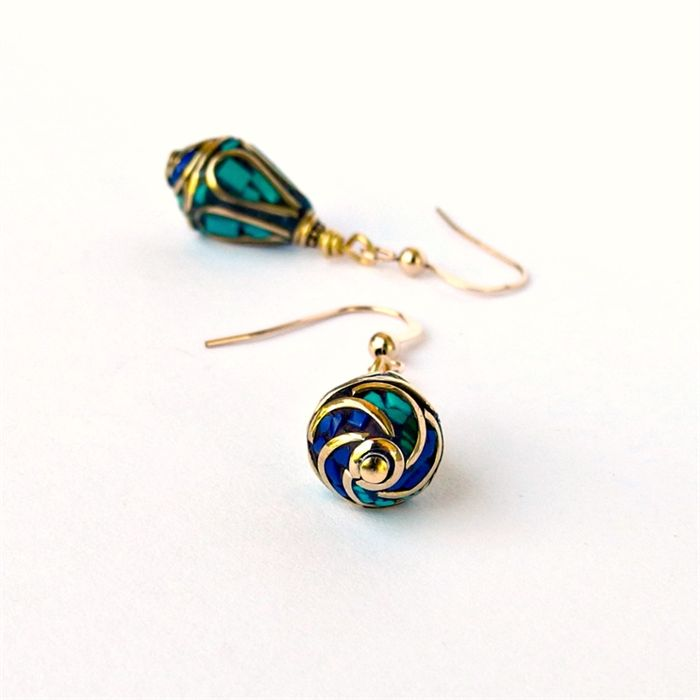 Nepal Lapis and Turquoise Earrings. Escape Jewellery