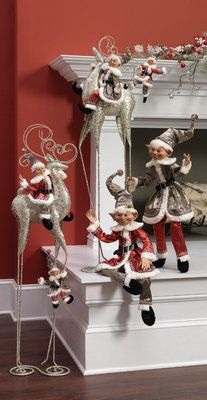 RAZ assorted sized elves from the Silver Bells collection, decked out in silver, red and black