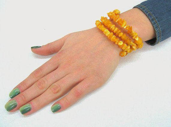 Baltic Amber Bracelet Butterscotch Opaque Yellow Memory by SanaGem