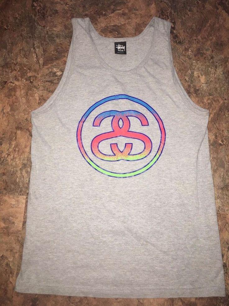 Stussy Have a Good Vibe Logo Tank Top T Shirt Mens Medium M Gray Skate Surf  #Stussy #TankTop