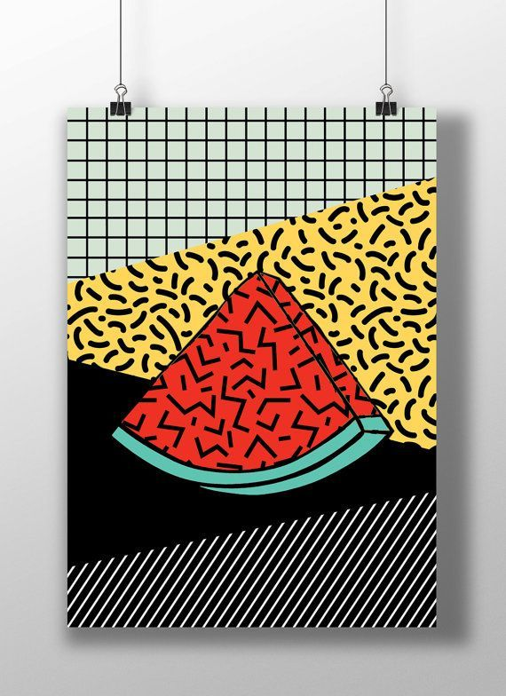 Watermelon print, fruit, Pop Art print, Funky, Abstract geometric, Modern home…