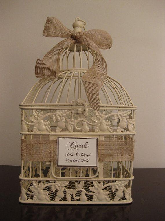 Small Birdcage Wedding Card Holder With Burlap Ribbon / Wedding Card Box Bird Cage Card Holder / Wedding Birdcage /. $28.00, via Etsy.