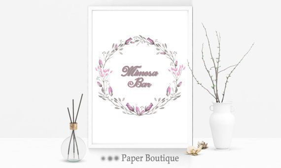Pink watercolour bridal shower mimosa sign by PaperBoutiqueCA