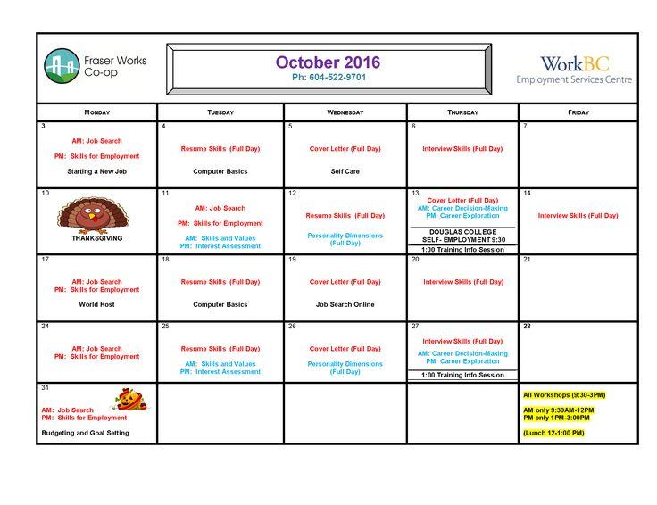 Fraser Works October Workshop Calendar. Sign up now!!