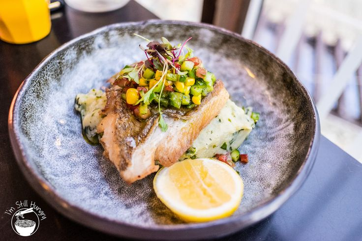 Panfried snapper fillet w/rustic spinach & potato mash w/a salsa of corn, tomato & cucumber ($34.9) @Blackbird Cafe  Darling Harbour  Im Still Hungry